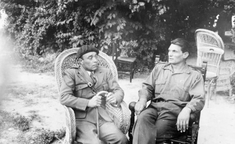 "Gabriel Fort of the French Battalion and Miklos Szalway (""Chapayev"", right) PHOTO 177_196106 taken at Ambite in June 1937.  Tamiment Library, NYU"