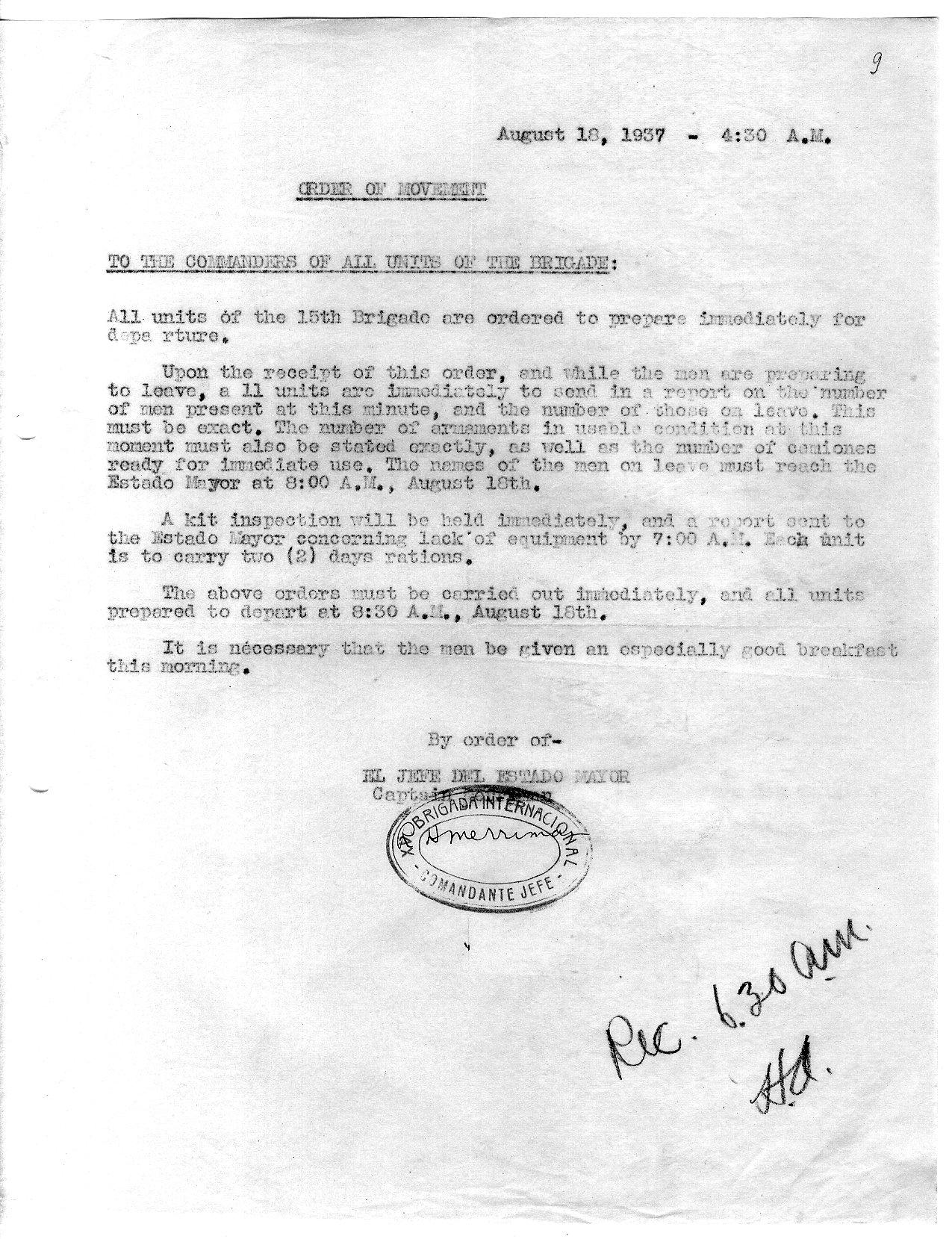 August 18, 1937 orders